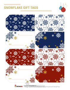Free printable Christmas gift tags that feature snowflake patterns in a variety of color schemes. Download them at https://christmasowl.com/download/gift-tags/snowflake/