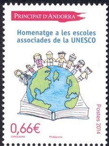 Sello: Unesco (Andorra (Administración Francesa)) (Stamp Competition) Yt:AD-FR 749,Mi:AD-FR 770,AFA:AD-FR 773