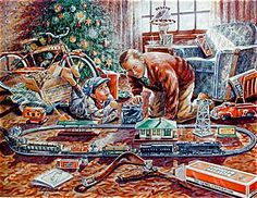 vintage+lionel+train+sets+1950s+round+the+christmas+tree | My Turn Yet Dad, 15 x 20 Giclee Print Version (Image1)