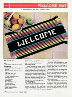 Bright and Pretty Welcome Mat in Plastic Canvas by TamarasTraditions on Etsy