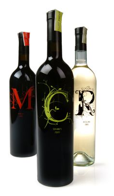 Wine Bottle Packaging Design, initials