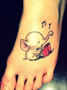 Adorable Listening to Music Little Elephant Watercolor Tattoo On Foot for Girls