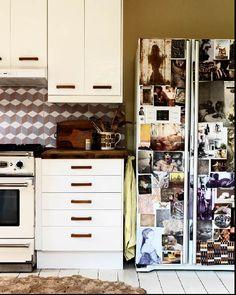 board on the fridge...