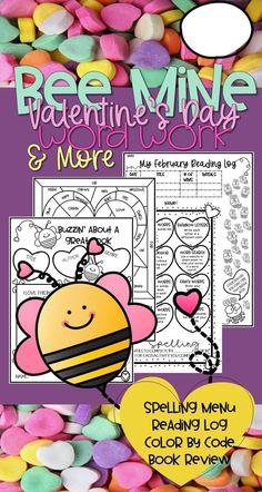 #VALENTINESDAY #TEACHINGIDEAS #TEACHERSPAYTEACHERS NO PREP SPELLING READING LOG COLOR BY CODE BOOK REVIEW VALENTINES DAY ELEMENTARY CUTE EASY FUN grammar word work Spelling Menu, Spelling Practice, Valentines Day Words, Valentines Day Activities, Reading Resources, Reading Activities, Close Reading Lessons, Good Grammar, Book Report Templates