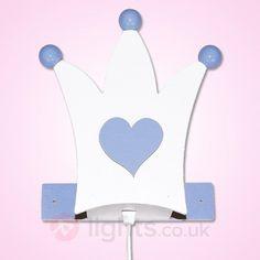 Lovely Crown wall light in light blue