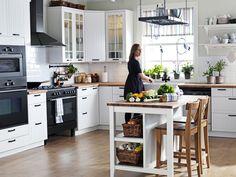 Smart Budget AKURUM/STÅT white kitchen AKURUM cabinets have a limited warranty. IKEA appliances shown have a limited warranty. See IKEA store or IKEA- for details. Barn Kitchen, Kitchen Layout, Kitchen Design, Ikea Appliances, Small Kitchenette, Transitional Kitchen, Kitchen On A Budget, Kitchen Ideas, Kitchen Styling