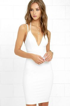 The dress that wins all the bets is the Top Ranking White Midi Dress! Thick, stretch knit forms this sexy midi dress with a seamed triangle bodice, plunging V-neckline, and a bodycon skirt. Double spaghetti straps accent a sultry open back. Hidden back zipper.