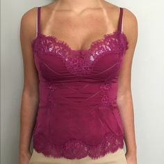 bebe pink satin cami with lace trim XS NWOT bebe pink satin cami with lace trim XS NWOT bebe Tops Blouses