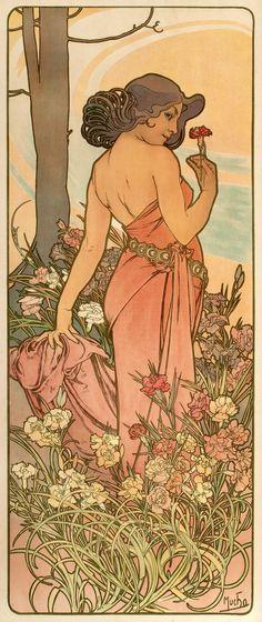 """Les Fleurs - The Carnation"" ~ Alphonse Mucha,  1898"