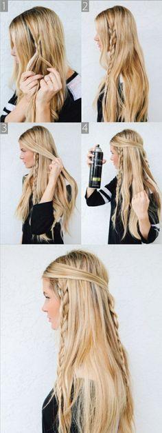 schwarze bluse, lange, glatte, blonde haare, zöpfe, alltagsfrisur