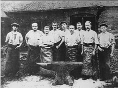 The anvil smiths at the Dudley Forge of Joshua Wilkinson Junior c1900 with the 1365lb anvil....