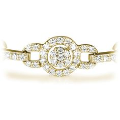 2.80ctw Circle Vintage Round Cut Diamond Bracelet in 18k Yellow Gold... ($4,399) ❤ liked on Polyvore featuring jewelry, bracelets, 18k bangle, vintage gold jewelry, gold diamond bangle, gold jewellery and gold diamond jewelry