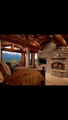 Log home bedrooms log home bedroom my dream house Log Home Bedroom, Log Cabin Bedrooms, Log Cabin Homes, Log Cabins, Bedroom Ideas, Master Bedroom, Theme Bedrooms, Bedroom Fireplace, Rustic Bedrooms