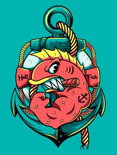 My personal touch on Abe Simpson's famous tattoo of the Hell Fish, smells like t-shirt!