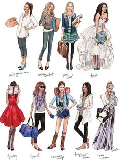Fashion Illustration Ideas nine-girls-WEB Preppy Style, My Style, Estilo Cool, Mode Glamour, Illustration Mode, Fashion Art, Fashion Design, Preppy Fashion, Girl Fashion