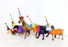 Farm Animal Set of 5 Painted animals cake toppers by PaintedParade, $51.00