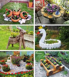 Ideias para o Jardim - CraftIdea. Garden Yard Ideas, Garden Crafts, Diy Garden Decor, Garden Projects, Garden Art, Garden Design, Garden Decorations, Patio Ideas, Garden Tools