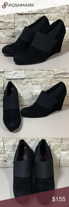"""Stuart Weitzman Black Suede Wedge Ankle Boots 8.5 Stuart Weitzman wedge ankle boots black suede leather boot booties. Excellent condition, possibly never worn, tag still on bottom, please see photos. Women's size 8.5 M, heel height 3.75"""", Made in Spain.  f1185 Stuart Weitzman Shoes Ankle Boots & Booties"""