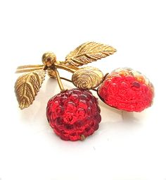 Glass Fruit Brooch Austria Jewelry Vintage by kiamichi7 on Etsy, $55.00