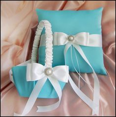Tiffany Blue and White Wedding Basket and Pillow