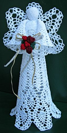 Royal Pineapple Seraphim Large Crochet Treetop Angel on Storenvy This gorgeous crocheted angel .You don't even have to use a pattern or use a certain sort of knot, as Hand Crafted by Elaine states. Crochet Christmas Ornaments, Holiday Crochet, Crochet Snowflakes, Christmas Angels, Merry Christmas, Christmas Bells, Angel Crochet Pattern Free, Crochet Angels, Easy Crochet Patterns