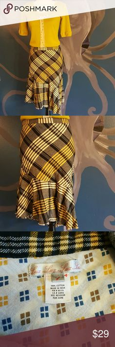 "Lux flannel skirt Lux from Anthropologie flannel skirt with asymmetrical hemline.  Very cozy!! EUC!! Gray, black, yellow and white.  Side zip. Waist measures 14.5"" laying flat.   Longest length is 28"" shortest length is 22.5"".  15% off bundles 3+. Anthropologie Skirts Asymmetrical"