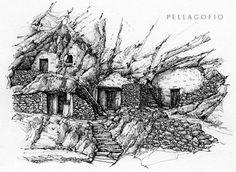 Conjunto de casas cueva en Acusa Seca, Gran Canaria, poblado troglodita aborigen aún habitado. | DIBUJO DE SANTIAGO ALEMÁN (LA ARQUITECTURA TRADICIONAL DE CANARIAS)