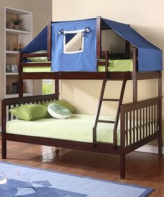 Cappuccino & Blue Mission Twin & Full Tent Bunk Bed