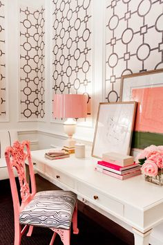 black, white and coral office niche. love the wall covering in the panels