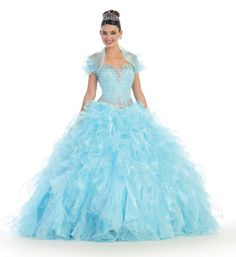 This elegant prom floor length quinceanera dress comes with sweetheart neckline beaded sequins bodice and organza ruffled skirt with bolero jacket. Fabric : Organza Corset Back Matching complimentary