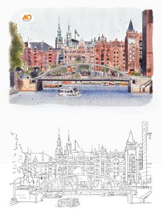 A watercolor illustration was needed for a hotel bed headboard that featured the city vibes and landscape in Hamburg, Germany. Design by M. O Hotel, Hotel Bed, Watercolor Design, Watercolor Illustration, City Vibe, Hamburg Germany, Logo Design, Graphic Design, Headboards For Beds