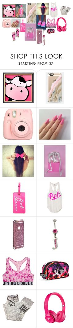 """""""PINK"""" by peyonbrewer ❤ liked on Polyvore featuring Casetify, Polaroid, Vans, Victoria's Secret, Victoria's Secret PINK and Apple"""