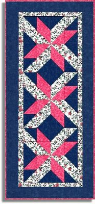 PINK FLORAL BLOOMS Pre Cut Table Runner Quilt TOP Kit