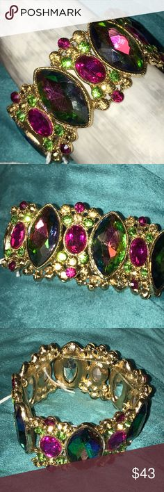 Prom Pretty Bracelet Gorgeous gen tones sparkle on this lovely golden bracelet!  Would be the perfect accessory for a fuschia, purple or emerald evening gown.  Stretch Bracelet. Jewelry Bracelets