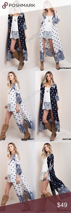 Duster print cardigan open front long boho slot Duster print cardigan open front paisleys boho chic slit. New boho chic print long duster cardigan light coverup. Super comfy. Woven fabric. Choose from Navy mix  or white mix. Sweaters Cardigans