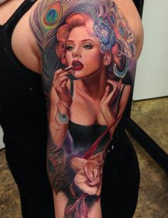 Her face is done really great! 72 Portrait full sleeve tattoo