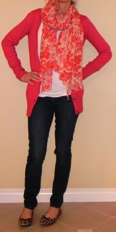 Bright floral scarf + cardi, skinny jeans and flats- simple and cheap on a fall day
