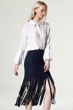 Lulla Fringe Knit Skirt Discover the latest fashion trends online at storets.com #storets clothing   #storets clothing   #storets on me