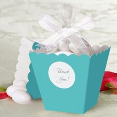 Robin's Egg Blue Popcorn Box Wedding Favor Kit - Party City