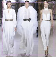 La casa de moda Yves Saint Laurent, presentó monos-pantalones que parecen ser faldas suaves y fluidas