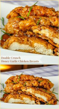 Double Crunch Honey Garlic Chicken Breasts - millions of views online! Double Crunch Honey Garlic Chicken Breasts - Our most popular recipe of the last 5 years! Super crunchy, double coated chicken breasts get d Chicken Thights Recipes, Chicken Parmesan Recipes, Honey Garlic Chicken, Easy Chicken Recipes, Recipe Chicken, Chicken Salad, Chicken Bites, Butter Chicken, Healthy Garlic Chicken