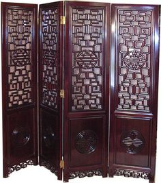 chinese screens room dividers | Rosewood Asian Carved Room Divider With Chinese Long Life | Oriental ...