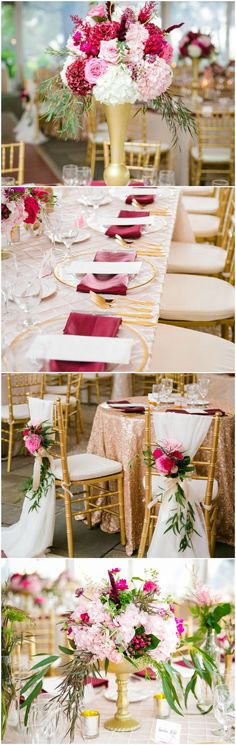 Rose gold tablecloths, gold chargers, berry-red linens, gold vases, flower arrangements, glam wedding reception // Dana Cubbage Weddings