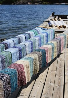 Mökillä - Finnish carpets - traditionally woven from scraps of left-over material called 'trasmattor'. My grandmother and some of her Finnish neighbors had a loom in a garage and they used to make rugs like these. Helsinki, Summer Jobs, Summer Time, Scandinavian Countries, Denmark, Norway, Australia, In This Moment, Rag Rugs