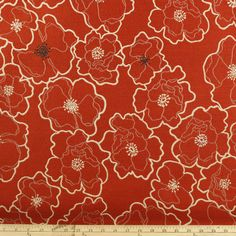 102 BTY by The Yard Hibiscus Flowers Floral Outline Red Upholstery Fabric | eBay