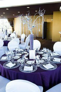 centerpiece crystal tree with purple sparkle sand...