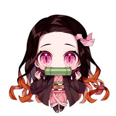 'Nezuko Chibi Kimetsu no Yaiba' Sticker by bawabuf Anime Neko, Cute Anime Chibi, Kawaii Chibi, Kawaii Anime Girl, Anime Art, Kawaii Art, Anime Angel, Demon Slayer, Slayer Anime