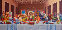 I enjoy the color scheme used in this painting and the attention it draws toward each individual dog. I really enjoyed this website because of the different parodies of the Last Supper. They all gave me a good laugh.