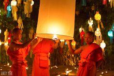 Yi Peng sky lantern ceremony in Wat Phan Tao in the heart of Chiang Mai, Thailand