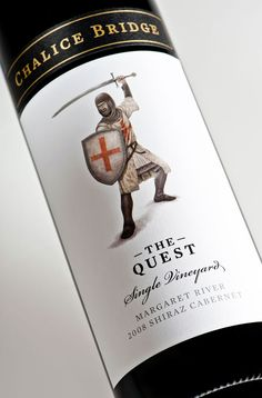 "Closeup of ""The Quest"" wine label by Studio Lost  Found - http://www.studiolostandfound.com/"